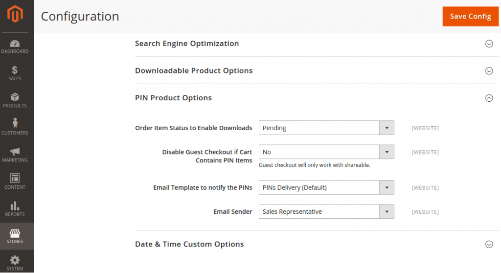 magento 2 pin delivery system