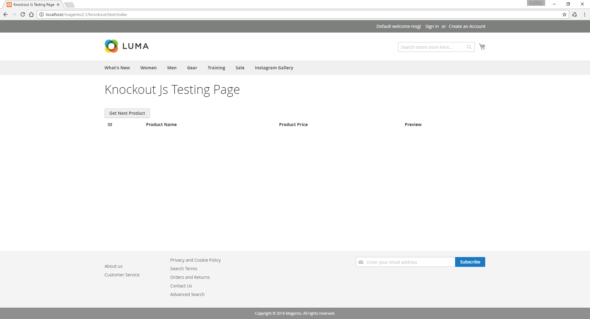 Knockout JS page Magento 2 tutorial