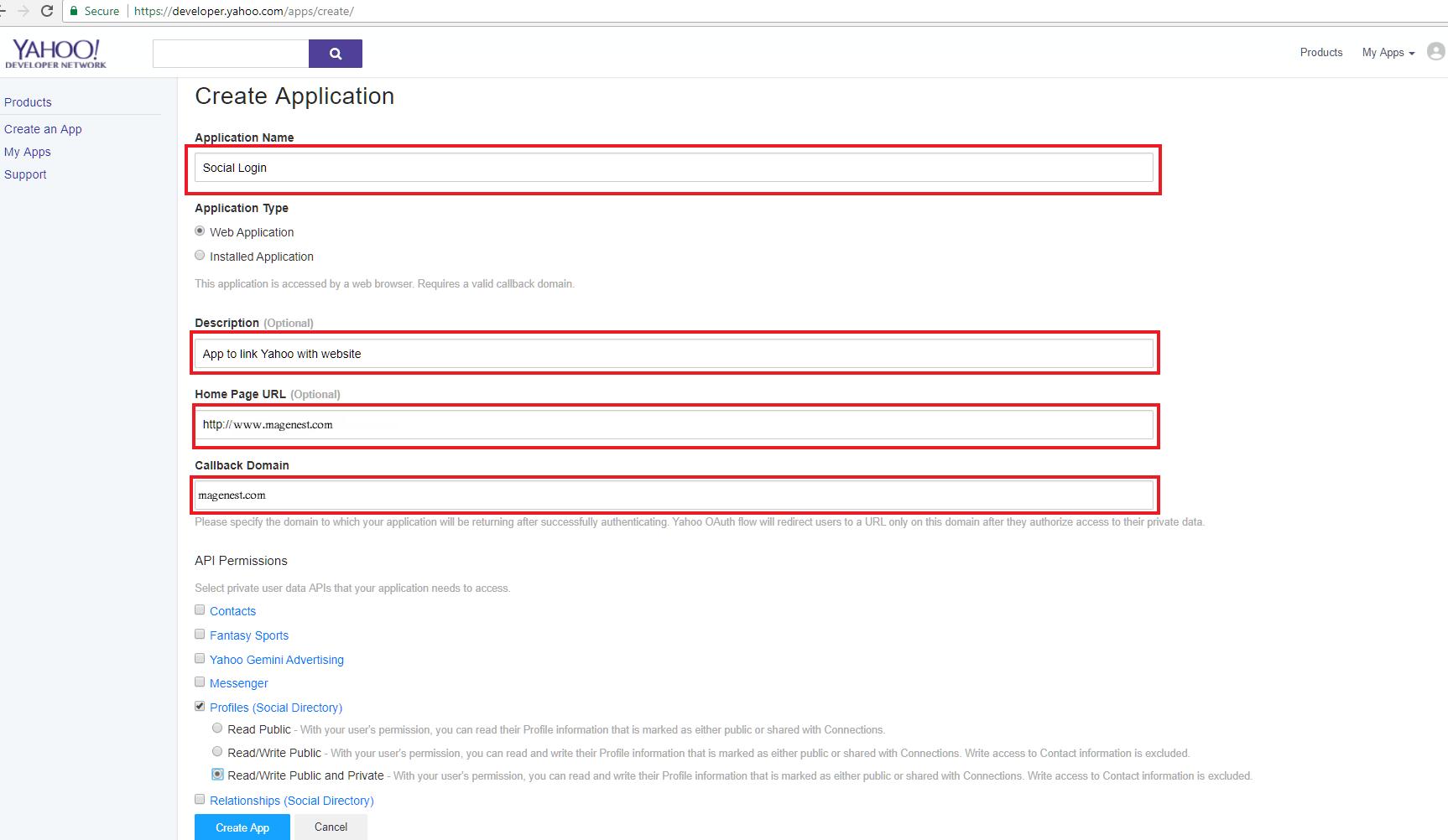 configure Yahoo API in Magento 2