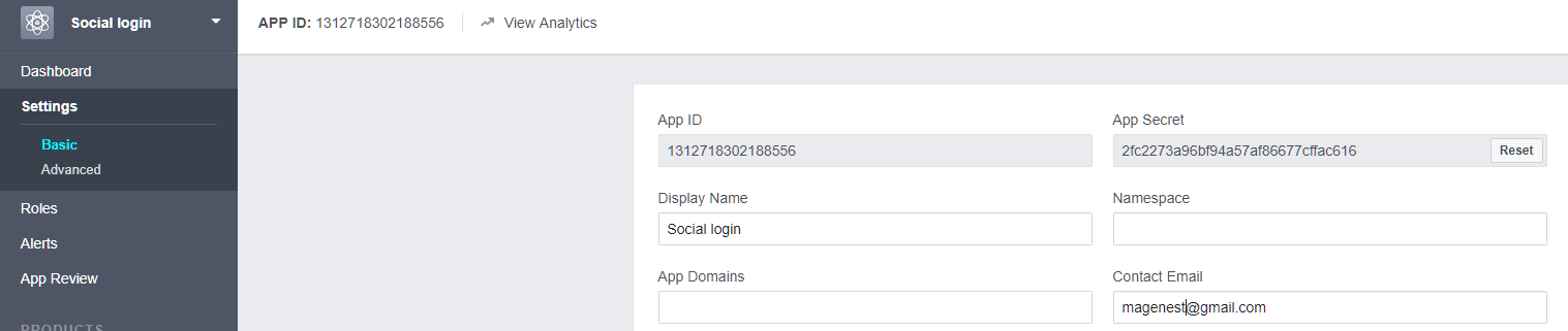 Configure Facebook API in Magento 2