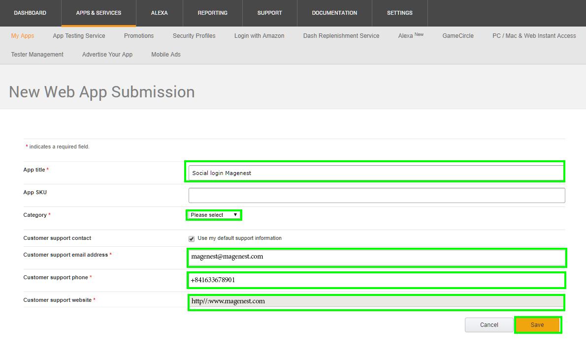 Configure Amazon API in Magento 2