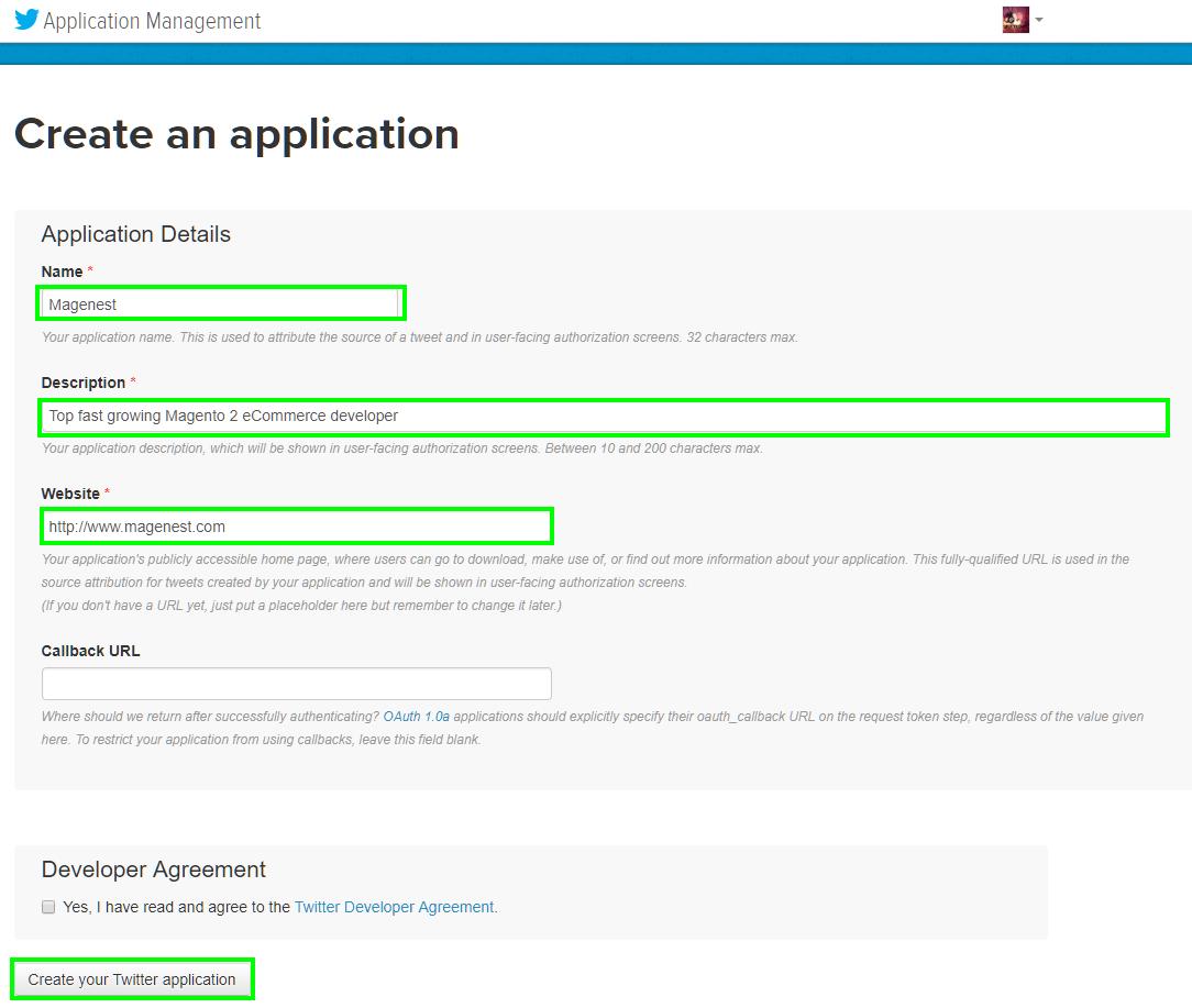 Configure Twitter API in Magento 2
