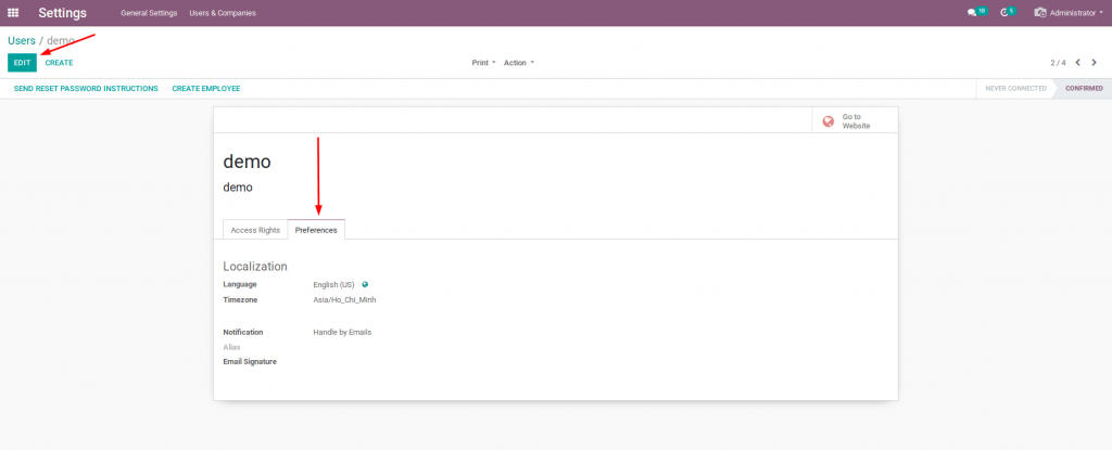 Phần mềm Odoo Việt: chọn References trong Users