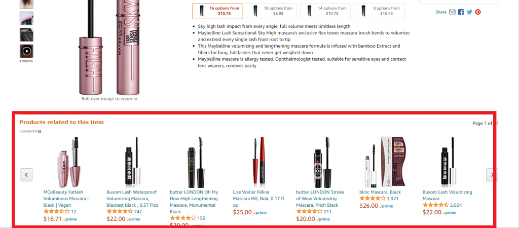 Product recommendations based on products seen