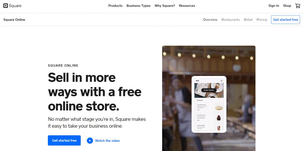 Top best free eCommerce website builders: Square Online website