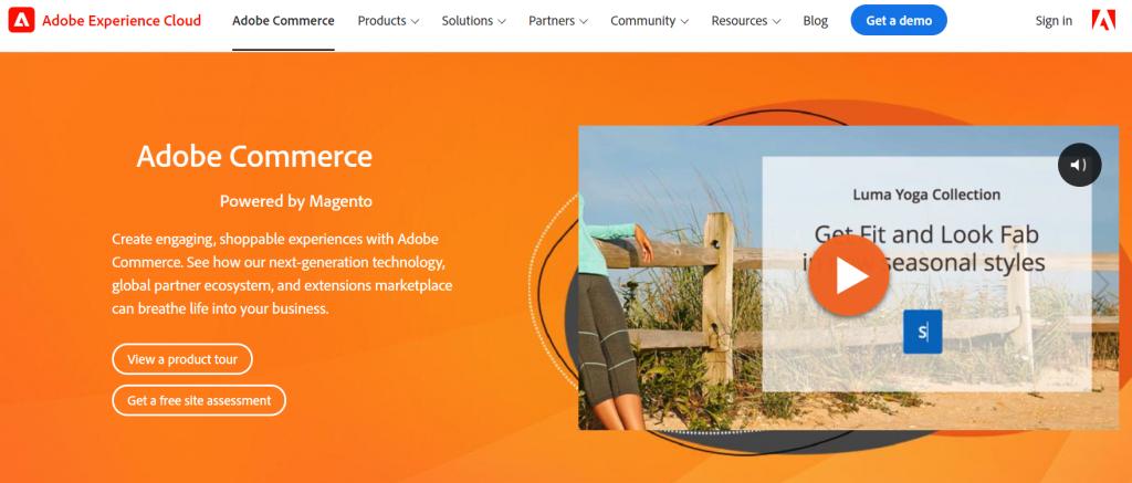 Top best free eCommerce website builders: Magento website