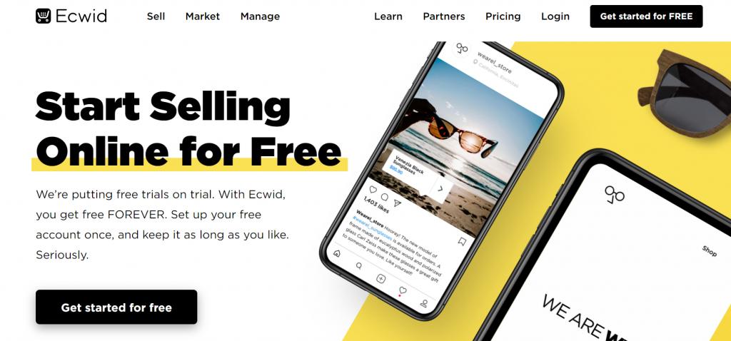 Top best free eCommerce website builders: Ecwid website