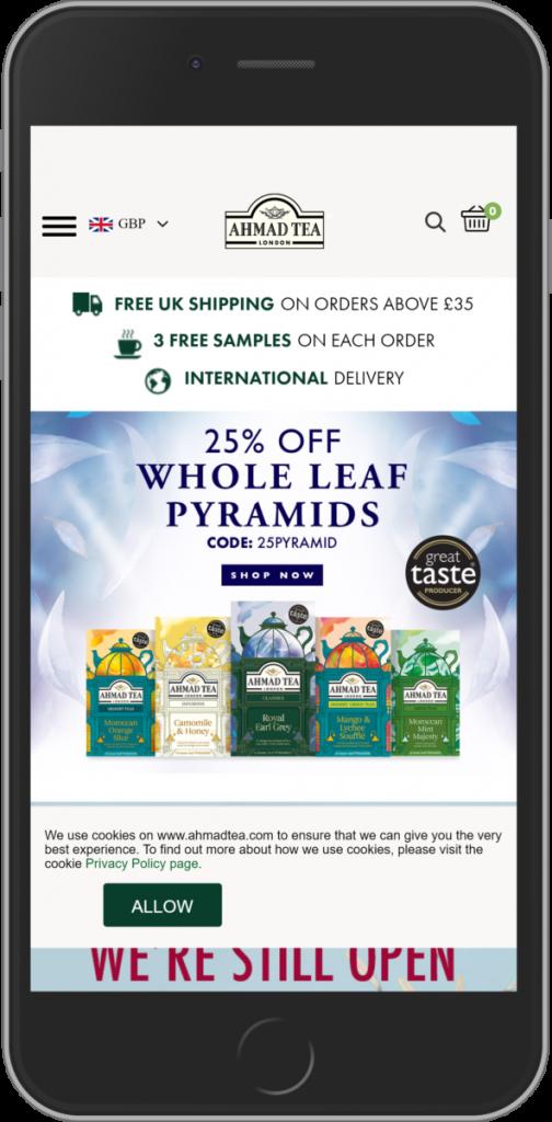 ahmad tea website thương mại điện tử trên mobile