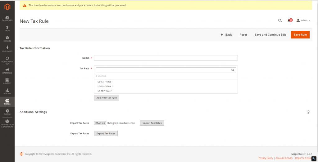 Chỉnh sửa thuế trong thiết kế website Magento
