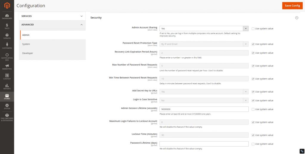 Bổ sung tính năng bảo mật khi thiết kế website Magento