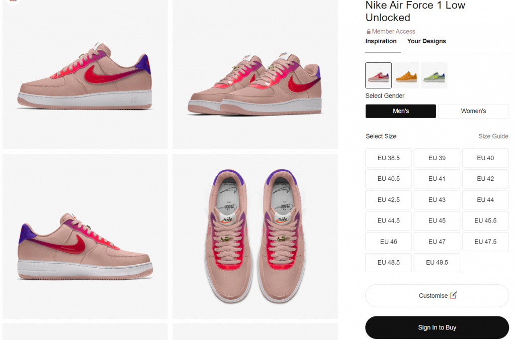 You can check the customized shoes right on Nike's website