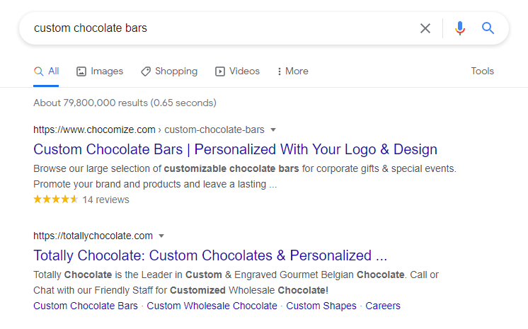 Chocomize appears at the first result on Google search