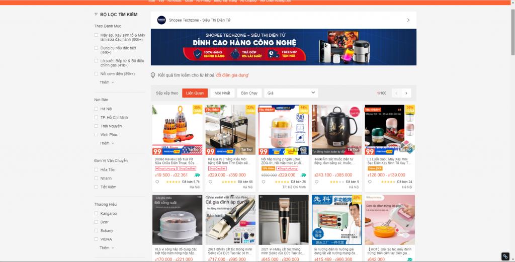 Thị trường kinh doanh đồ điện gia dụng trên internet ít có thương hiệu nào nổi bật
