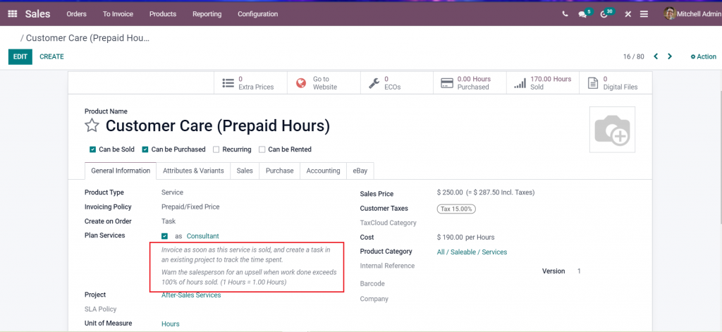 Upsell in Odoo 15 project